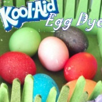 Easter eggs colored by Kool-Aid