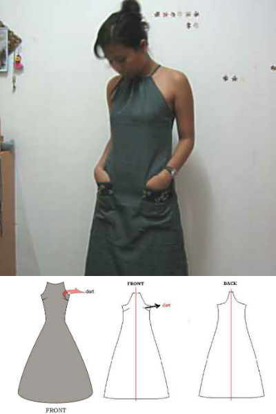 Drawstring halter party dress pattern