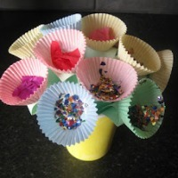 Flower bouquet made with cupcake liners