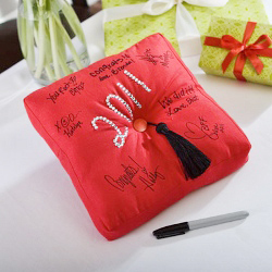 graduation guestbook pillow