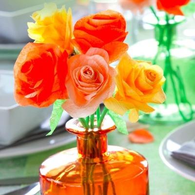 crepe paper flowers centerpiece
