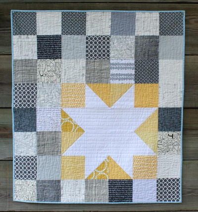 Grey and Yellow Star Baby Quilt - Free Quilting Pattern