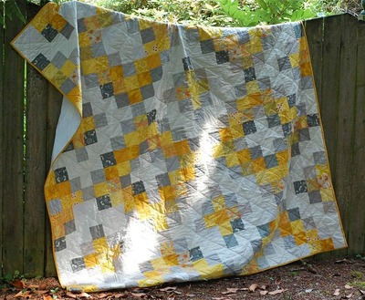 Crosshatch Gray and Yellow Quilt