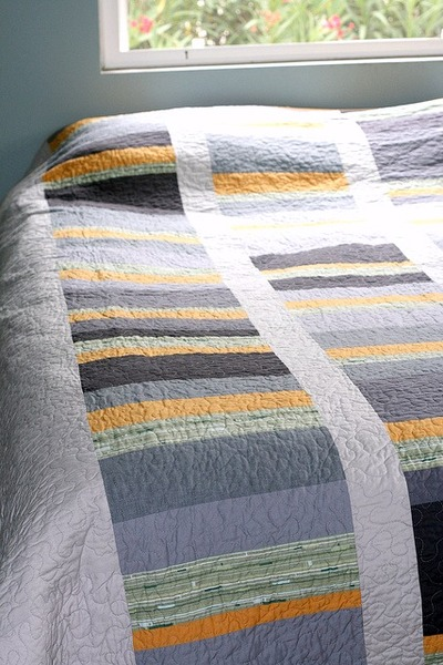 Asymmetrical Gray and Yellow Quilt