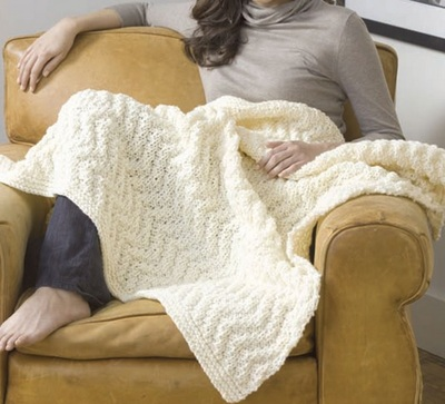 White Knit Afghan Blanket