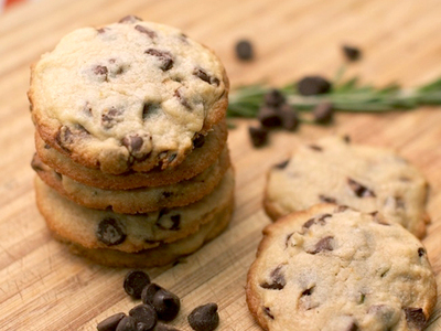 orange and rosemary chocolate chip cookies