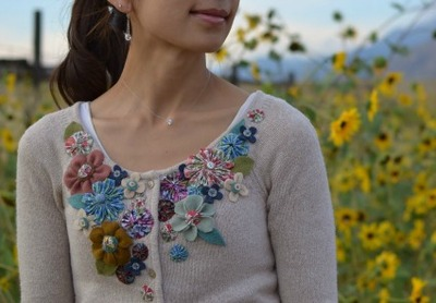 cardigan with flower embellishment