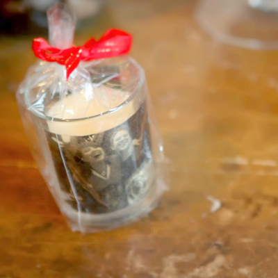 tea light container embellished with family photo