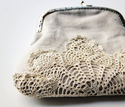 coin purse embellished with doily