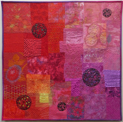 red and purple art quilt