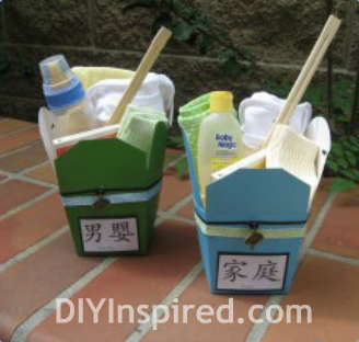 chinese take-out box baby shower gift