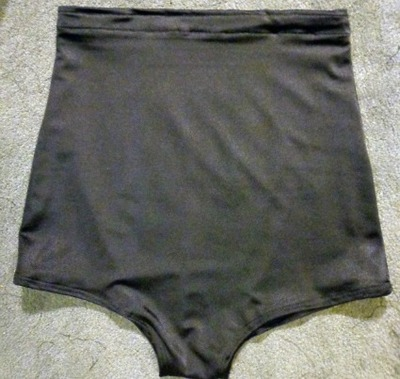 Black high-waisted bikini bottoms