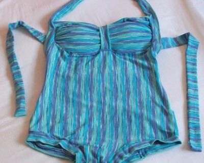 Striped halter-style swimsuit