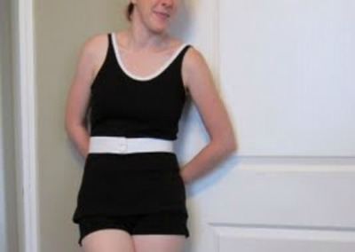 1920s style swimsuit upcycled from t-shirt
