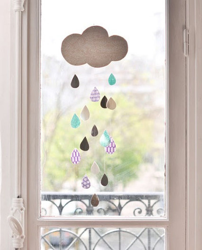 raindrops and cloud baby mobile