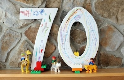 recycled cereal box number party decoration