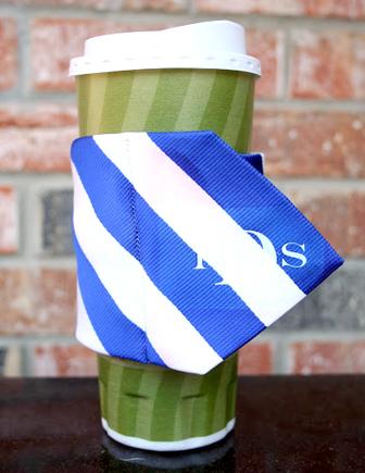 monogrammed necktie coffee cozy
