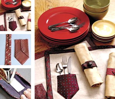necktie placemats and napkin rings