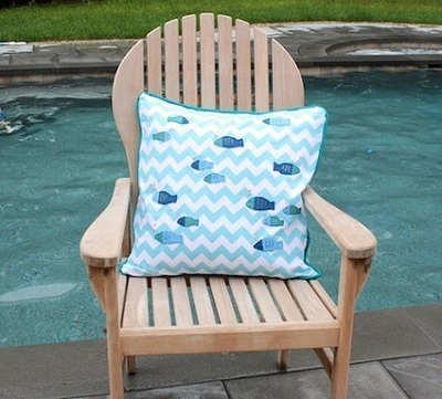 Fish Embroidered Pillow