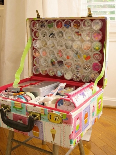 Upcycled vintage suitcase for craft supply storage