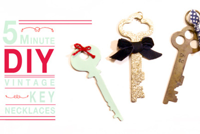 vintage key necklace tutorial