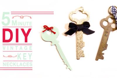 vintage key necklace tutorial