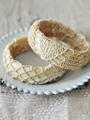 doily-covered bangles