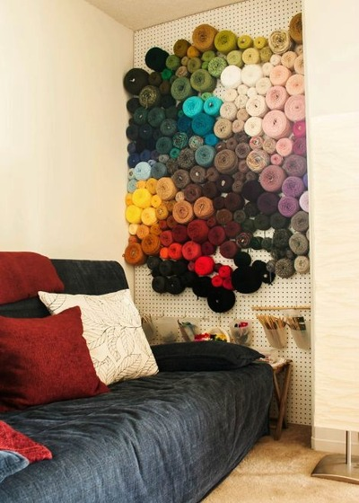 DIY Peg Board Yarn Storage