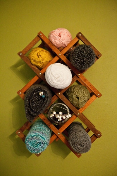 Accordion wine rack yarn storage