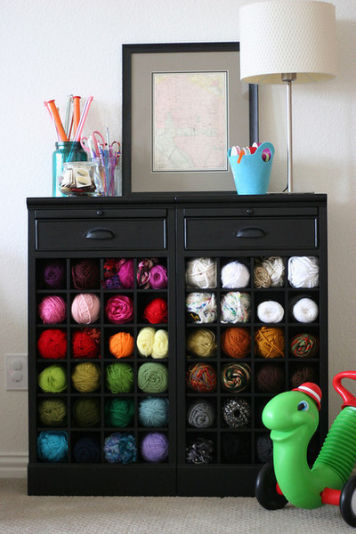 Wine Cabinet Yarn Storage