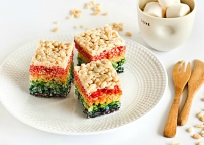 Rainbow-colored rice krispie treats