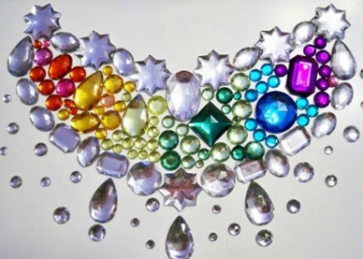 Colorful necklace made of rhinestones