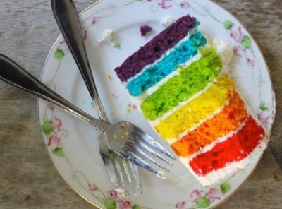 Rainbow-colored layer cake