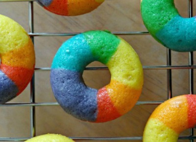 Donuts dyed in rainbow colors