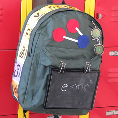 diy backpack, small craft backpack, science backpack