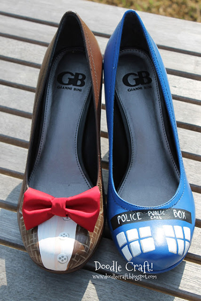 Dr. Who, refashioning shoes, shoe painting