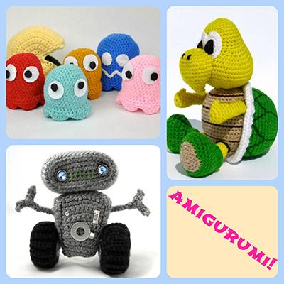 amigurumi, koopa troopa doll, pacman doll, robot doll, crochet dolls