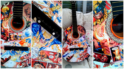 Marvel Comics, Decoupage Guitar, Wolverine, X-Men, decoupage instrument