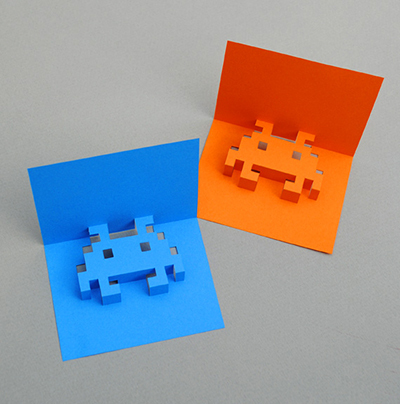 Space Invaders, Atari, Pop-up cards, paper art, paper crafts