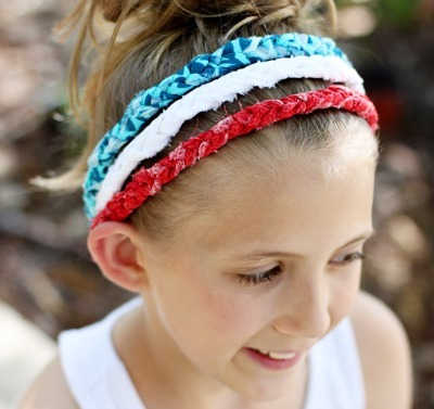 Girl wearing braided headbands