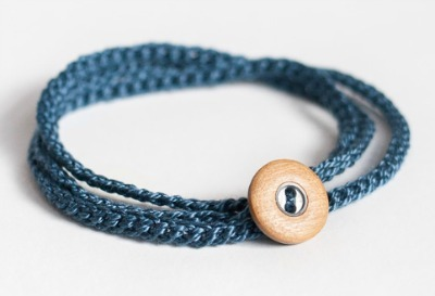 Braided crochet button bracelet