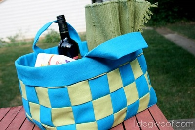 no sew woven fabric basket