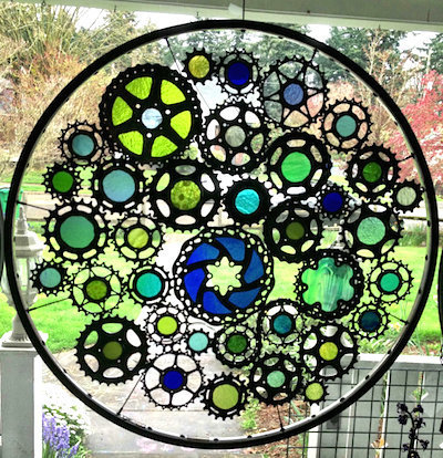 upcycled bike gears Stained Glass