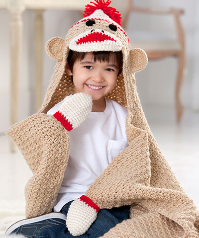 crochet sock monkey blanket