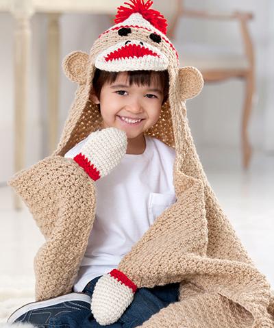 crochet sock monkey blanket