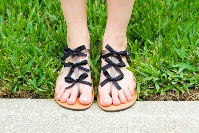 DIY Sandals with Bows