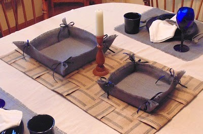 woven burlap ribbon mat