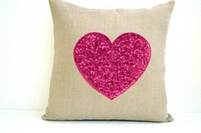 burlap heart pillow