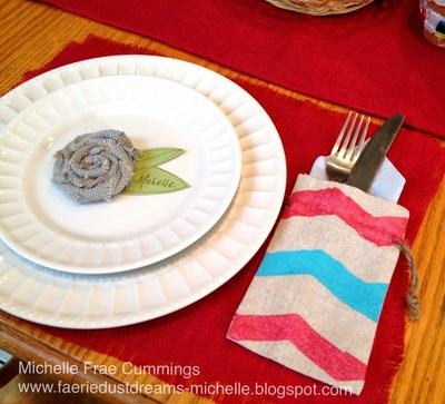 burlap table setting
