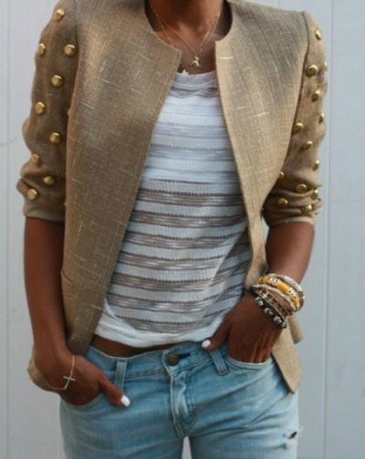 DIY studded tweed blazer